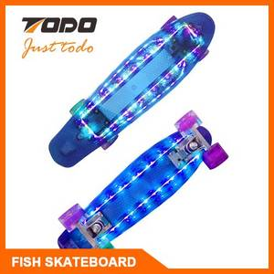 Wholesale skate board: TODO Fish Plastic LED Skateboard Skate Board Skate