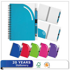 Wholesale custom plastic file folder: Eco-friendly Recycle Custom A5 Plastic Cover PP Spiral Journal Traveler Notebook with Pen