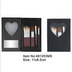Wholesale makeup mirror: 4pcs Brown Plastic Handle Animal/Nylon Hair Makeup Brush Tool Set with Heart Shape Mirrored Fold Cas