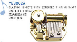 Wholesale wooden jewelry gift: 18-Note Classic Movement with Extended Winding Shaft/M3 Left Thread (YB8002A)