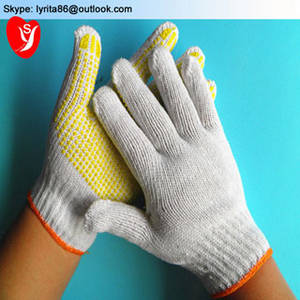 Wholesale cotton gloves: 7/10gauge Knitted Cotton Liner Garden Gloves with PVC Dots / Safety Working Gloves