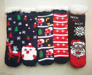 Wholesale jacquard: Christmas Gift Santa Nordic Snowman Spandex Yarn Jacquard Slipper Sock Middle Calf Sock