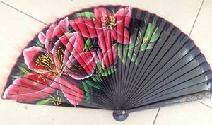 Wholesale Folk Crafts: Hand Painted Lacquered Wooden Hand Fan