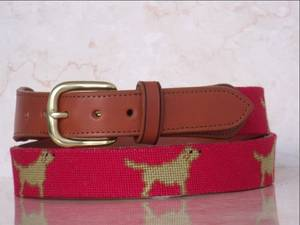 Wholesale Genuine Leather Belts: Dog Red Needlepoint Belt, 100% Handmade Tan Leather Belt
