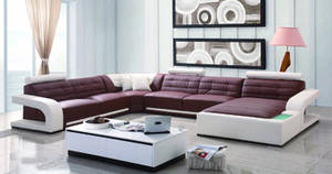 Wholesale genuine leather sofa: Stylish Living Room Furniture U Shape Leather Sofa Bed with Feather