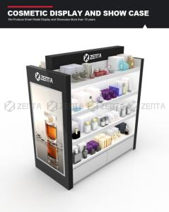 Wholesale floor stand for makeup: Elegant Wood Gondola for Cosmetic Display with Big Light Box