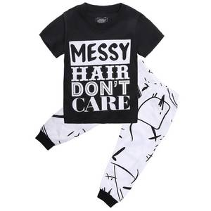 Wholesale Children's T-Shirts: Little Girls Short Sleeve Letters Print T-shirt and Pants Outfits