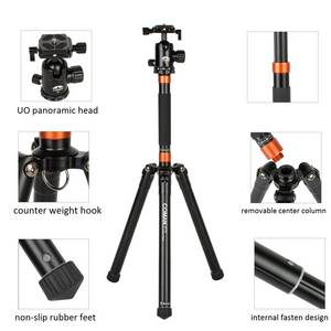 Wholesale aluminium tripod: Coman MT70 Flexible Table Tripod Aluminum 5-Section Twist Lock 62.2 Inches with Ball Head for Camera