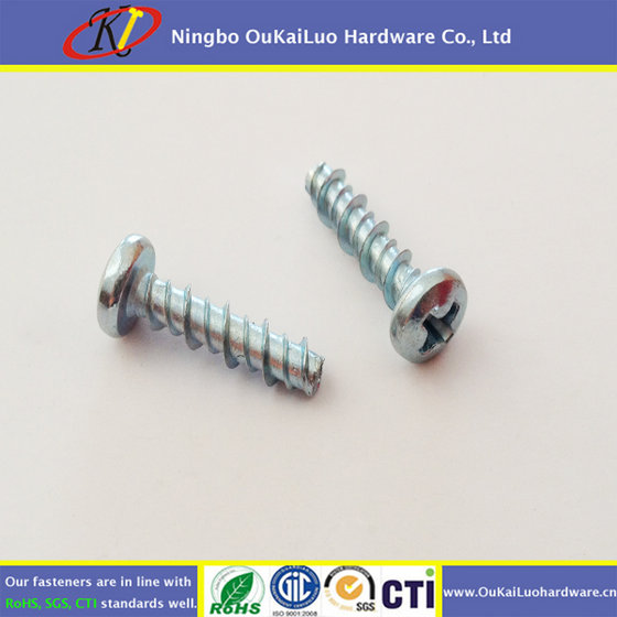 Pan Head Clear Zinc Philips High-low Thread Screw for Plastic