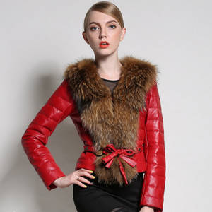 Wholesale fur hat: Women Real Sheepskin Leather Down Feather Long Coat Jacket with Fur Collar