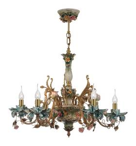Wholesale chandeliers: fascinating Colorful 6 Arm Flower Shape Brass Ceramic Chandelier